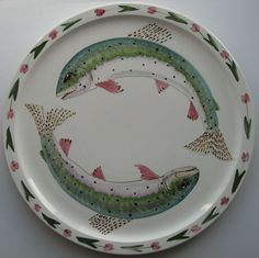 Hand Painted Fish Plate- Iden Pottery Rye England - Steven Duffy