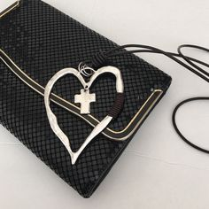 """🎊WEEKEND SALE🎊Heart and Cross Necklace Unique Statement Piece - large heart with leather accent and cross in center - heart is 3 1/2"""" wide and 4"""" high - cord is 17 1/2"""" long Boutique Jewelry Necklaces"""