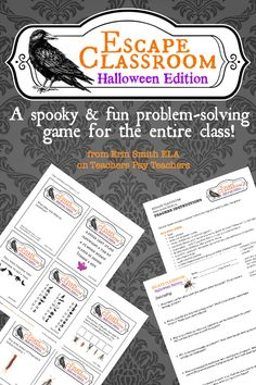 The Halloween Edition of the popular Escape Classroom game is here, just in time for you to have some spooky problem-solving fun with your classes!  Setup is easy, with printable clue cards, complete teacher instructions, and answer key.
