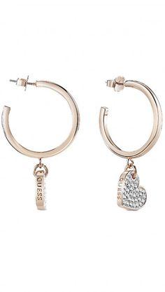 Σκουλαρίκια κρίκοι Guess ροζ χρυσά καρδιά από ορείχαλκο με λογότυπο UBE84083 186b8b4c5e7
