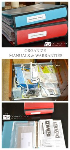 Warranty binder, how to organize manuals and warranties, product manuals, tool manuals, product instruction binder, keeping track of manuals and warranties