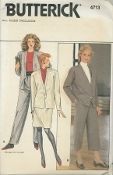 "An unused Butterick Pattern 4713.  Misses' Jacket, Skirt & Pants - Loose-fitting, lined-to-edge jacket has neck band and full length kimono sleeves.  Pants in 2 lengths ( side pockets) and skirt 1"" above mid-knee have waist gathers and back zipper.  Purchased shoulder pads and tops."