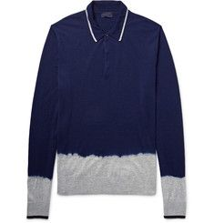 LanvinDip-Dyed Knitted Merino Wool Polo Shirt