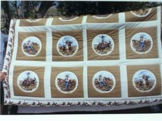 "handmade cowboy/western style quilts | Cowboy Quilt Beiges 94x78"" King Sized Handmade Machine Quilted Western ..."