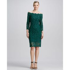 Off-the-Shoulder Lace Cocktail Dress, Cedar by Tadashi Shoji at Neiman Marcus. ~ Sadly sold out! Long Cocktail Dress, Designer Cocktail Dress, Cocktail Dresses, Holiday Fashion, Holiday Outfits, Dresses To Wear To A Wedding, Wedding Attire, Formal Evening Dresses, Evening Gowns