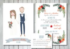 Custom Illustrated Wedding Invitation with RSVP von ThePaperberry