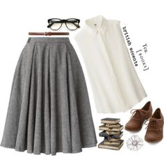 The Librarian: I have these shoes, this skirt in black and in light brown, and this blouse ...only with sleeves.