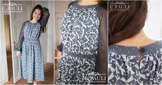 Jerseykleid mit Tüllärmeln kostenloses Schnittmuster Damen