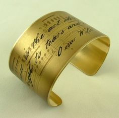 Oscar Wilde Witty Quote - Music is the art - Sheet Music Brass Cuff. $40.00, via Etsy.