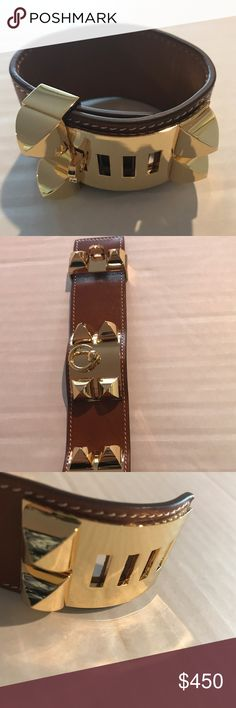 "Hermes Brown CDC Collier De Chien Cuff Hermes brown leather CDC Collier De Chien cuff bracelet  Color: Brown Hardware: Gold Material: Leather Closure: Sliding Stud and Notch Closure Stamp: J Stamp in Square (2006 production year) Retail Price: $1,150 Condition: New without Tags (but with box and dust bag) Inside Circumference: 5.5""-6.5"" Width: 1.5""  Please Note: Bracelet's provenance is currently unconfirmed, hence, its value pricing. Hermes Jewelry Bracelets"