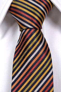 Notch Men's Silk Slim Necktie GOTTFRID Stripes in black, white, green, yellow, orange, red  http://www.yourneckties.com/notch-mens-silk-slim-necktie-gottfrid-stripes-in-black-white-green-yellow-orange-red/