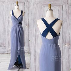 2016 Steel Blue Bridesmaid Dress, High Low Wedding Dress, V Neck Prom Dress, Criss Cross Formal Dress, Cocktail Dress Floor Length (Z086)