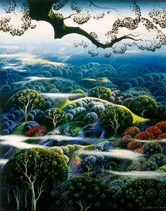 Morning Beauty by Eyvind Earle Fantasy Landscape, Landscape Art, Landscape Paintings, Fantasy Art, Eyvind Earle, Illustrator, Minimalist Landscape, Magic Realism, Art Deco Pattern
