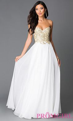 Long White Beaded Strapless Sweetheart Dress at PromGirl.com