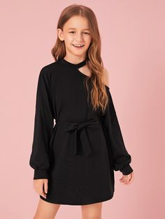 Girls Cutout Shoulder Lantern Sleeve Self Belted Dress , Kids Dress Wear, Dresses Kids Girl, Kids Outfits Girls, Cute Girl Outfits, Cute Casual Outfits, Girls Fashion Clothes, Tween Fashion, Teen Fashion Outfits, Cord Pinafore Dress
