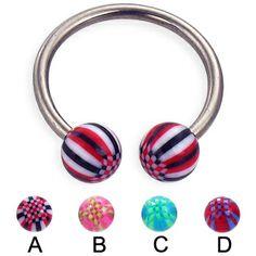 Titanium horseshoe barbell with acrylic checkered balls, 14 ga