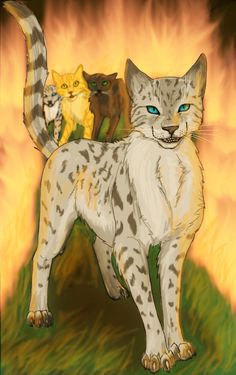 Ashfur blocking Lionblaze, Hollyleaf, and Jayfeather's escape from fire, faces off-screen Squirrel flight.