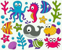 Under The Sea Clip Art - Ocean Digital ClipArt - Fishes, Whale, Crab, Seahorse…