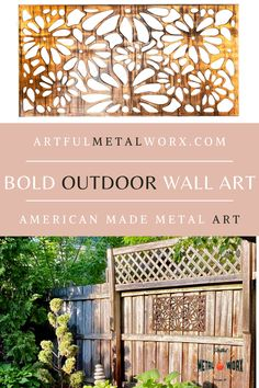 Outdoor Wall Art, Outdoor Walls, Melbourne House, Mural Wall Art, Decks And Porches, My Secret Garden, Garden Structures, Metal Wall Decor, Diy Patio