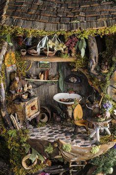 A tiny herb room.  Precious herbal arts + crafts.