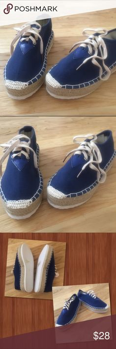 "Navy Blues Canvas Navy Blue Lace up Sneaker. Hipster style having a 1.5"" platform very lightweight pair of shoes. You have Versatility with this color and style! The box states 8 1/2, these shoes run small, I checked the US sizing  they fit a size 7. Shoes Sneakers"