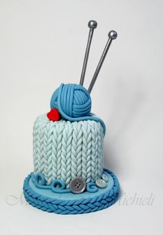 This knitting cake is soooooo Natalie! Crazy Cakes, Fancy Cakes, Cute Cakes, Pretty Cakes, Mini Cakes, Yummy Cakes, Cupcake Cakes, Bolo Fondant, Bolo Cake