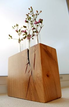 Test tube bud vase with wood base made of locally Salvaged eco ...