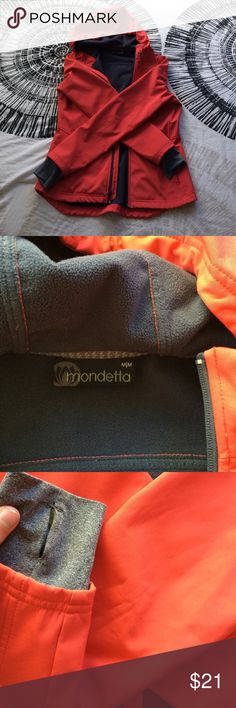 FIRM. Hiking jacket -super cute and fitted when on Coral colored jacket. Has the thumb holes for extra warmth.. elastic stretch hood, warm fleecy material in the inside. Broken zipper. Small black smudges on elbows - otherwise excellent condition! Warm! mondetta Jackets & Coats Utility Jackets