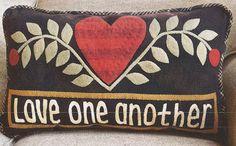 Primitive Folk Art Wool Applique Pattern  LOVE by PrimFolkArtShop, $8.95
