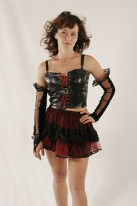 Gothic Top~Goth-Bondage Black Foam Leather/Pvc Front Lace-up Top~Mini Skirt also available~74D-4041~