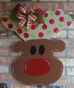 Rudolph Reindeer Wood Christmas Door Hanger by craftigirlcreations Christmas Wood Crafts, Wood Christmas Tree, Christmas Tree Painting, Christmas Door, Christmas Decorations, Christmas Ideas, Merry Christmas, Burlap Crafts, Wooden Crafts