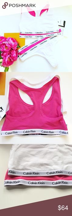 """CK Bralette and Panty Set Pre-made bundle includes: Set of 2 Calvin Klein thong style panties, 1 white, 1 bright pink and matching bralettes/sport bras. Have thinner 1/2"""" logo band. Super soft and comfy. Celeb favorite! Bundle with other CK bralettes and panties in my closet for a discount. Reasonable offers can be made through offer button 😎 Same set also available in size L.  Condition: Brand new, never worn.  🚫Trades  Please ask any questions prior to purchasing. All sales final. Calvin…"""