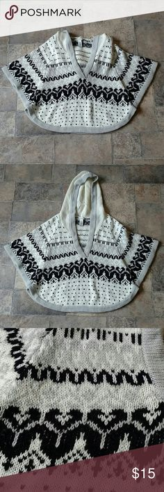 "American Rag Cie cropped boho poncho * American Rag Cie * Great condition * Cropped sweater poncho * Hooded * Off white, gray & black * Size S/M * Length is 23"" * 70% acrylic & 30% wool * Any questions, just ask! American Rag Cie Tops"