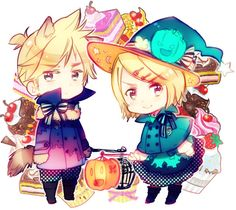 Chibi Rin and Len, Vocaloid - Art by Himaruya Hidekaz, creator of Hetalia