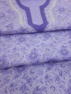 Lucknowi Chikankari Online Suit Length 3 piece Purple Cotton with very fine chikankari murri, shadow, aari & crochet work work with designer neckline & pure chiffon dupatta