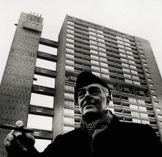 Ernö Goldfinger in front of Trellick Tower