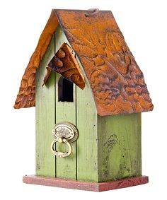 Green Door-Knocker Distressed Wood Birdhouse