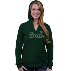 South Florida Bulls Ladies V-Neck Pullover Hoodie - Green