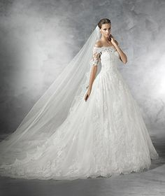 Pleasant, robe de mariée, silhouette princesse, en tulle
