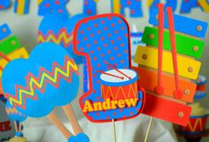 This musical instrument themed birthday party THREE PIECE CENTERPIECE can be personalized with a NAME and AGE.