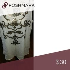 Cream Colored Sleeveless Top w/Pewter Sequins NWT Sleeveless cream colored top with a beautiful sequined design. Lane Bryant Tops