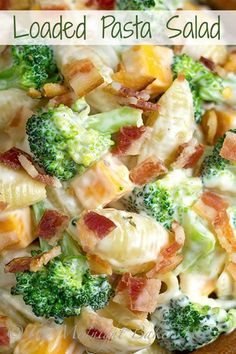 Loaded Pasta Salad  2 cups cooked pasta of any shape (I used med. shells) 2 cups steamed baby broccoli florets 4 slices bacon, diced 1/2 cup diced (1/4-inch) sharp cheddar cheese Salt & pepper to taste Dressing: 1 cup mayonnaise 2 tsp ranch seasoning mix 1 tbs cider vinegar 1 tbs sugar 1 tbs water 1 tsp garlic powder 1/4 tsp pepper  Mix dressing ingredients in a large bowl.  Combine all other ingredients and mix well.  Chill for at least 2 hours.