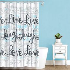 Splash Home Live Laugh Love Polyester Fabric Shower Curtain 70 Inch X 72 White