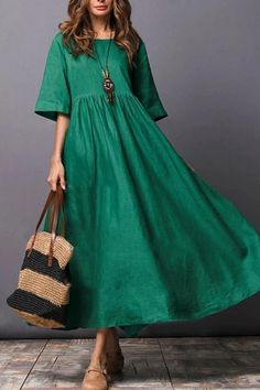 Round Neck Plain Cotton/Linen Maxi Dress - Women's style: Patterns of sustainability Half Sleeve Dresses, Maxi Dress With Sleeves, Day Dresses, Summer Dresses, Half Sleeves, Dress Pockets, Dresses Online, Wedding Dresses, Short Sleeves