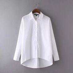 Бесплатная доставка основные белые женщины блузки марка нерегулярные подол женского мода тонкий рубашки офис leisre носить шутник леди topLBAA8204 купить в магазине Friends of the Shanghai International Trade Co. Creek на AliExpress