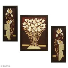 Paintings & Posters Beautiful 3 Piece Set Of Flowers Paintings Without Glass  *Material* Wood & Plastic 