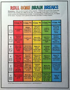brain breaks, could be used for adults too.  may put this in my planner - anything to stay focused!