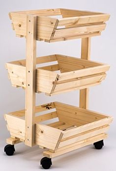 3 Tier Wooden Vegetable Rack Fruit Food Storage Rack on The Wheels Vegetable Rack, Fruit And Vegetable Storage, Fruit Storage, Food Storage, Storage Ideas, Woodworking Projects Diy, Diy Wood Projects, Wood Crafts, Diy Furniture Couch