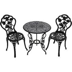3 Piece Bistro Set 2 Chairs Coffee Table Furniture Garden Backyard Patio Rose