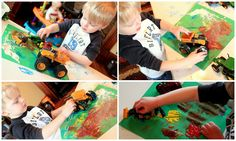 Paper, Paint & Vehicles - hands on : as we grow Toddler Crafts, Crafts For Kids, Stroller Strides, Truck Paint, Washable Paint, Montessori Toddler, Old Paper, Kids Playing, Activities For Kids